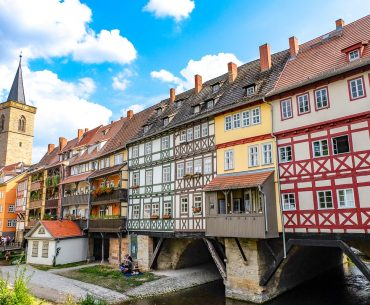 colourful wood timber buildings with tower on Krämerbrücke things to do in erfurt germany