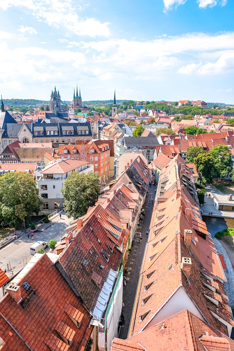 orange roofs of old town below from tower in erfurt germany