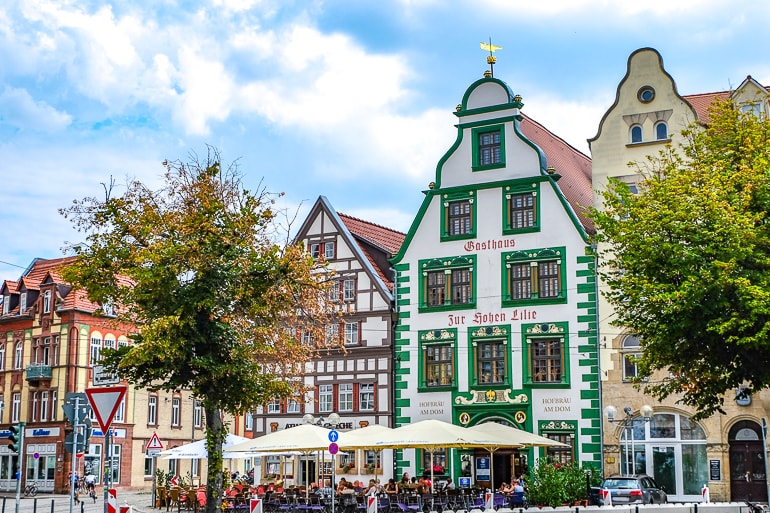 green wooden timber building in german old town erfurt germany where to stay gasthaus