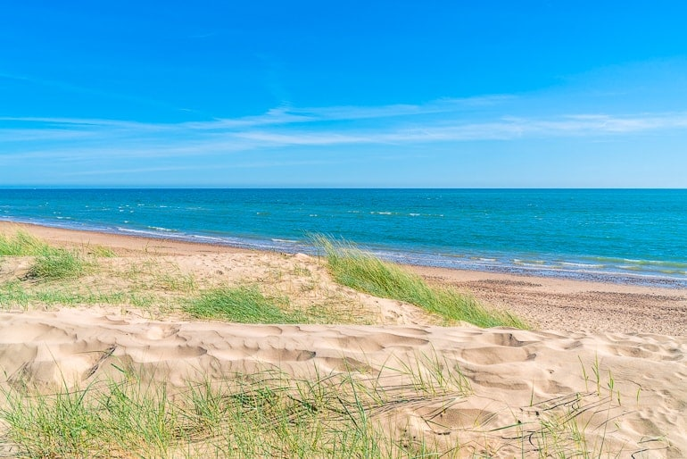sandy dunes with green grass and blue ocean behind camber sands