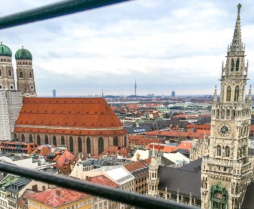 historic church and clock tower from view above one day in munich germany