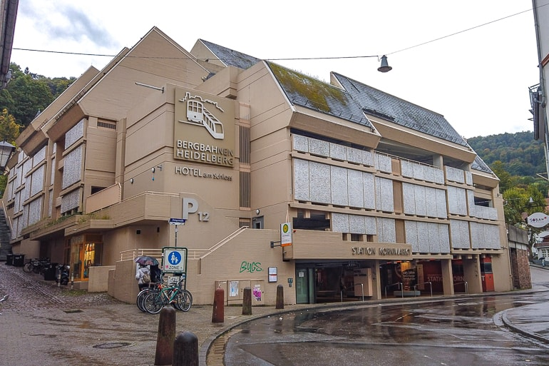 cable car station and parking garage building in heidelberg germany