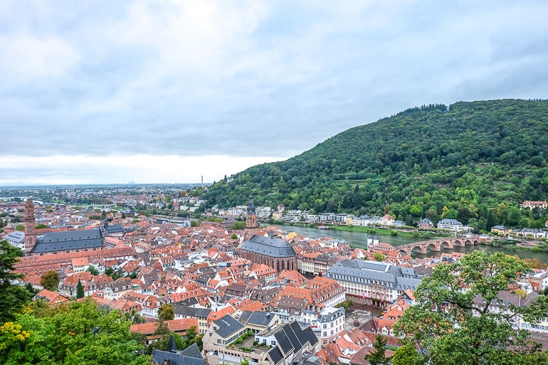 red rooftops of old town with river and green hill beside heidelberg germany
