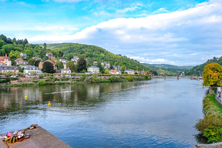 blue river with green river banks and houses in heidelberg germany
