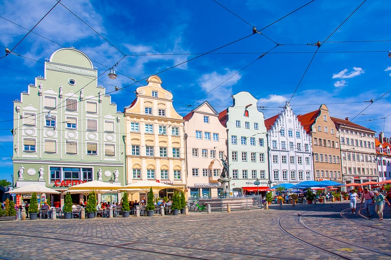colourful houses in german old town with blue sky augsburg