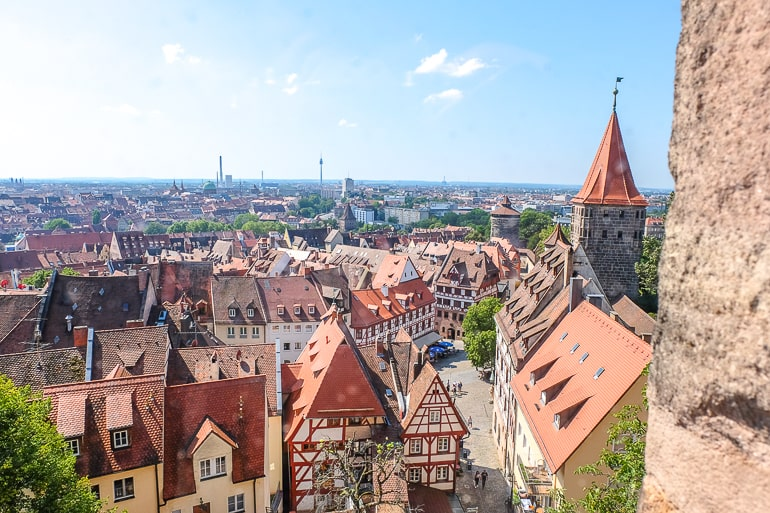 red roofs of old town buildings from above in nuremberg germany munich day trip