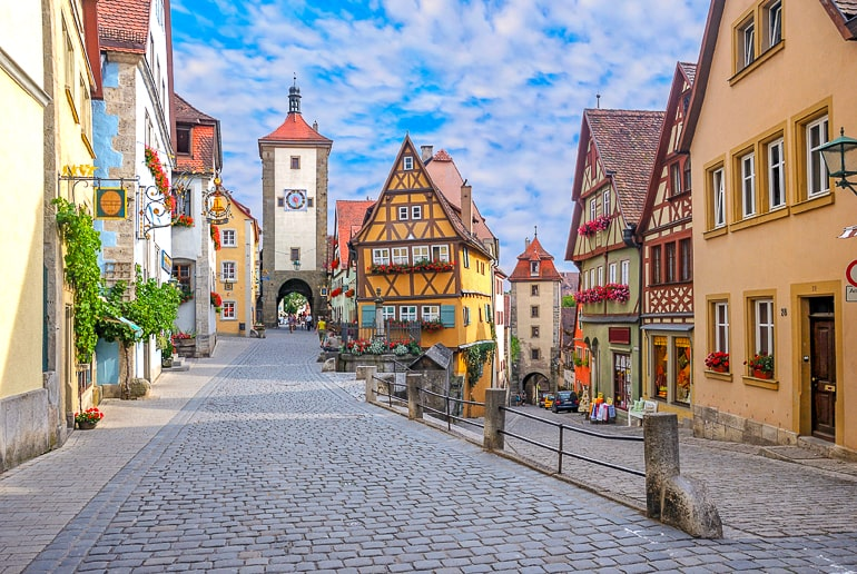 colourful german old town with tower and cobblestone streets rothenburg ob der tauber