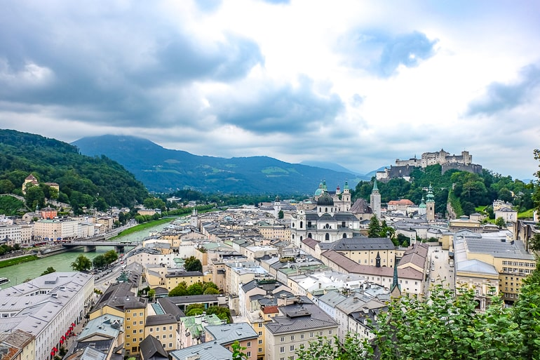 old town from above with river and castle on hilltop salzburg austria