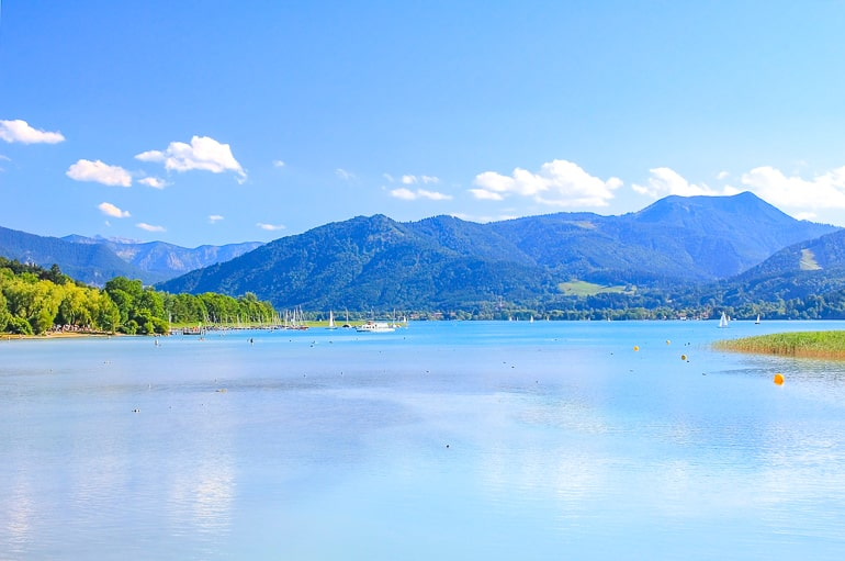 blue lake with mountains in background tegernsee germany