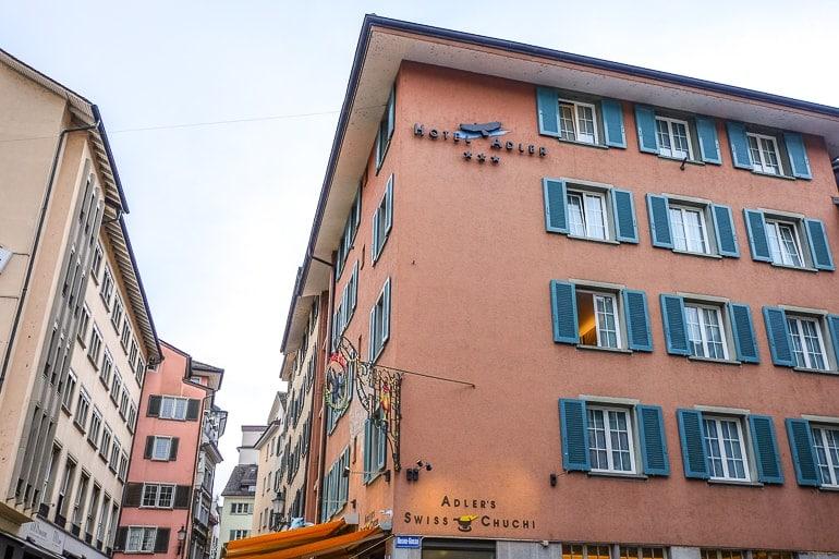 orange corner hotel in zurich old town adler