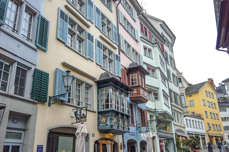 colourful houses down alleyway in old town zurich