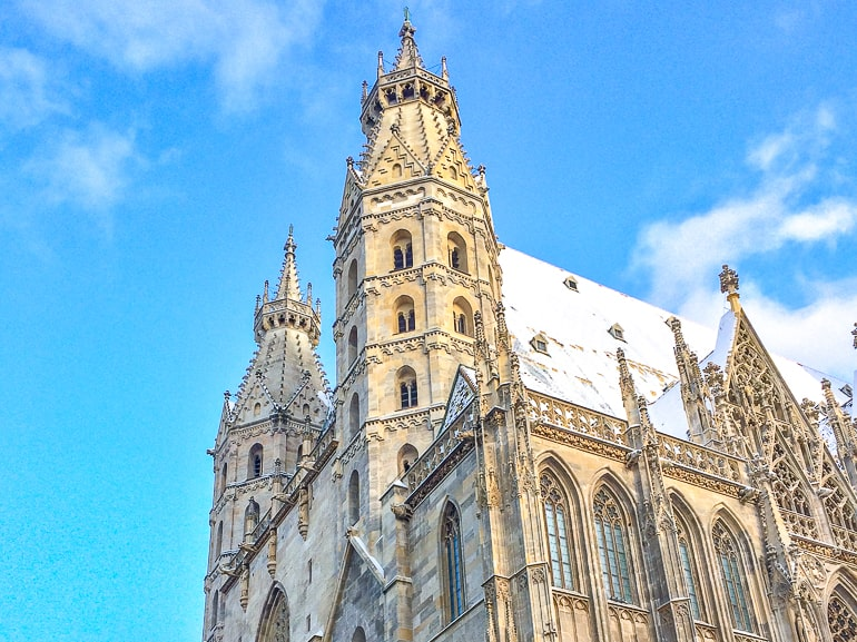 two towers of old cathedral in vienna innere city with blue sky
