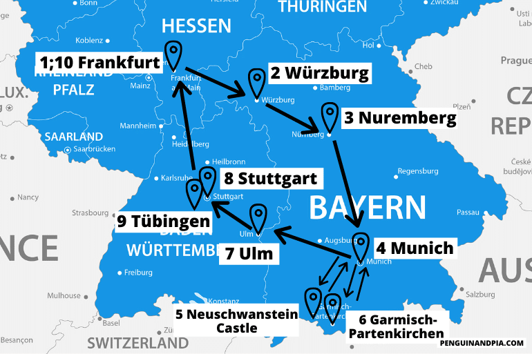 blue map of southern germany with arrows between cities