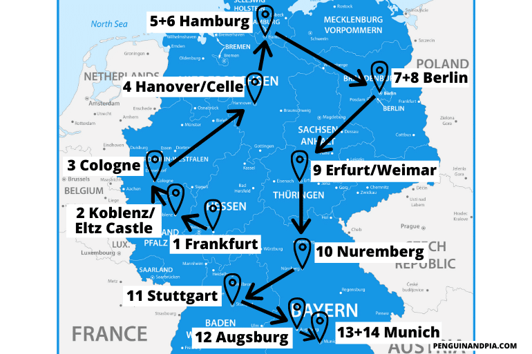 blue map of germany travel itinerary with arrows between cities
