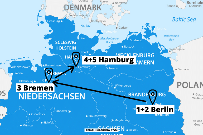blue map of northern germany itinerary with arrows