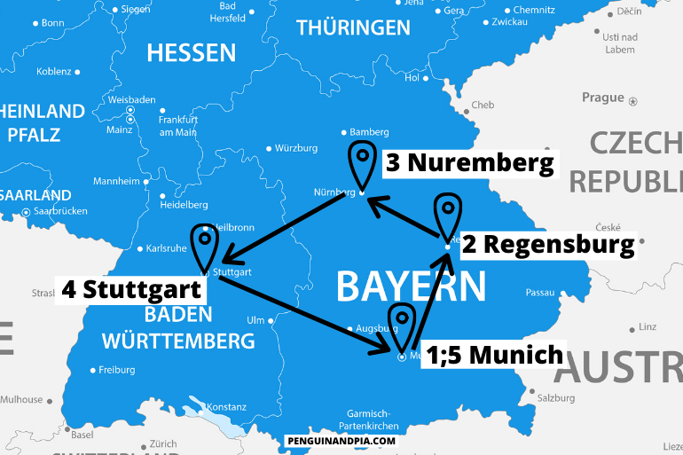 blue map of southern germany itinerary with arrows