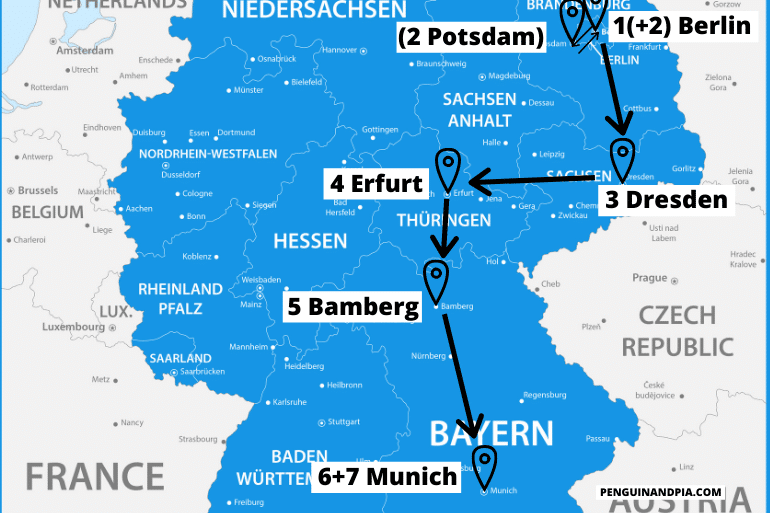 blue map of eastern germany travel itinerary with arrows
