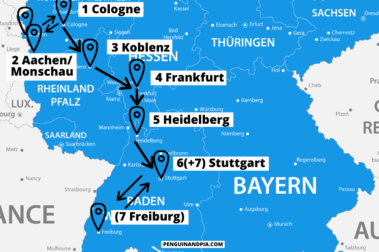 blue map of western germany with arrows