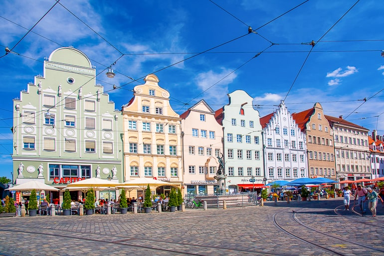 colourful town houses with public square in augsburg germany itinerary