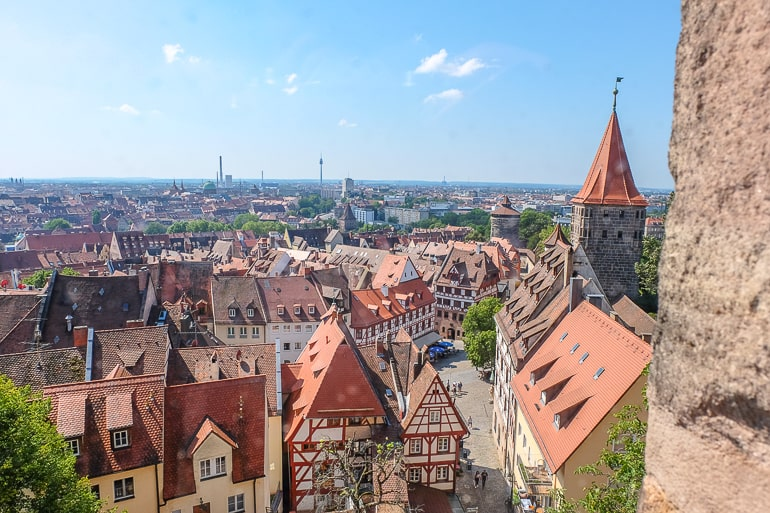 red rooftops of german old town in nuremberg germany travel itinerary