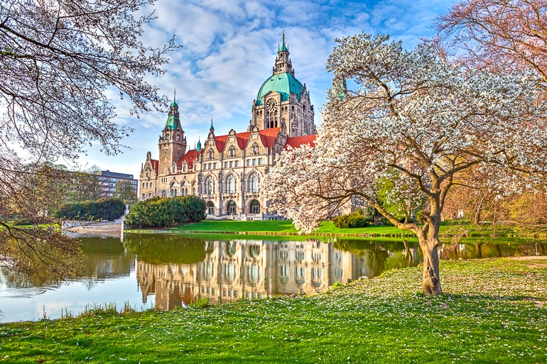 large building with dome behind blooming trees in park with water beside hanover germany
