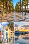 Collage mit Bildern Strandpromenade mit Palmen, bunten Häusern und Hafen bei Sonnenuntergang für Pinterest