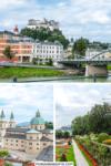 Foto Collage mit Gebäuden, Festung Hohensalzburg, Dom und Blumengarten für Pinterest Pin