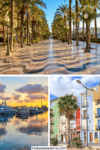 Collage of Photos houses and palm trees and sunset with boats for Pinterest pin