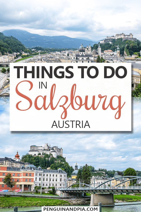 Photos of buildings in Salzburg and fortress on top of hill with text overlay
