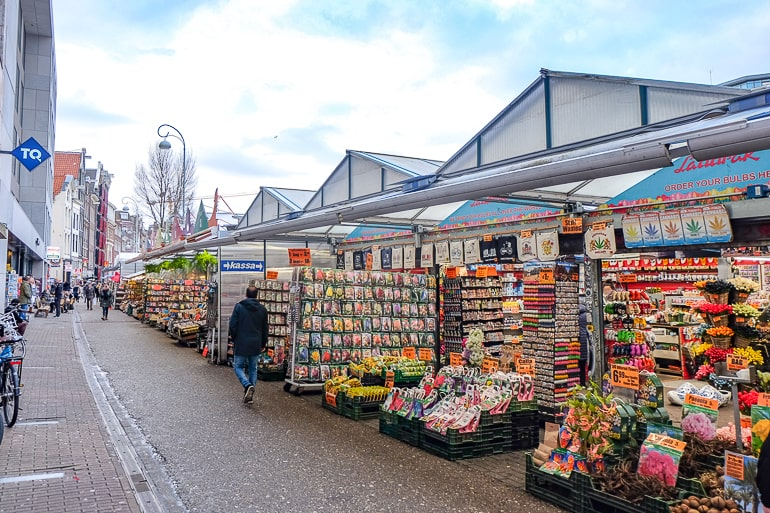 flower market stalls in amsterdam one day