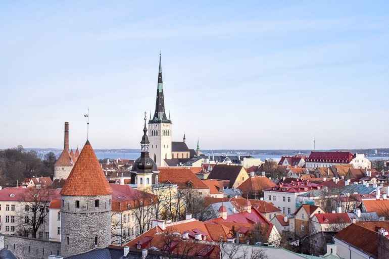 view of rooftops in old town from above in tallinn estonia