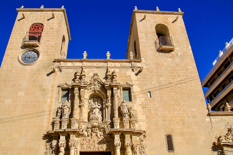 old sandstone church entrance in alicante spain