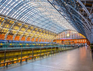 platform and colourful metal dome of station train from europe to london