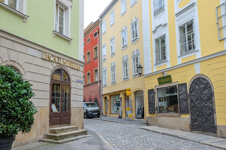 colourful old town buildings with cobble stone street in passau germany