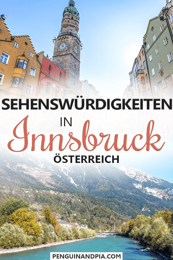 Fotos von bunten Gebäuden und Turm in Altstadt und von Bergen und Fluss mit grünen Bäumen