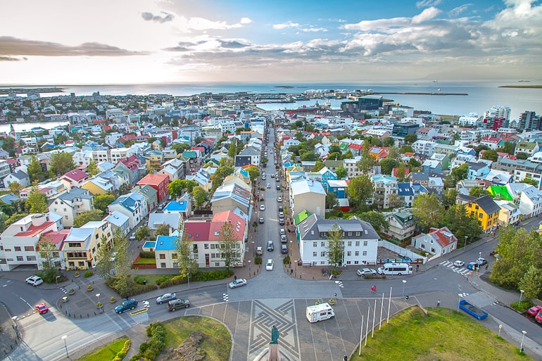 view of colourful houses and streets from above in reykjavik iceland