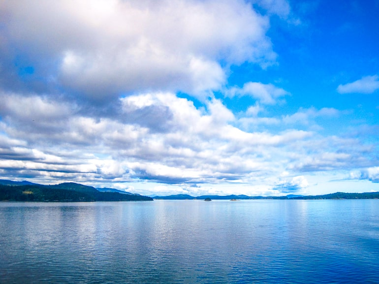 blue water with white clouds in sky bc ferry ride
