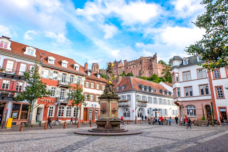 old town square with buildings and fountain in heidelberg germany