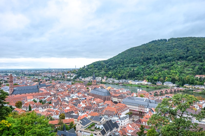 views of old town and green hill across river in neuenheim heidelberg