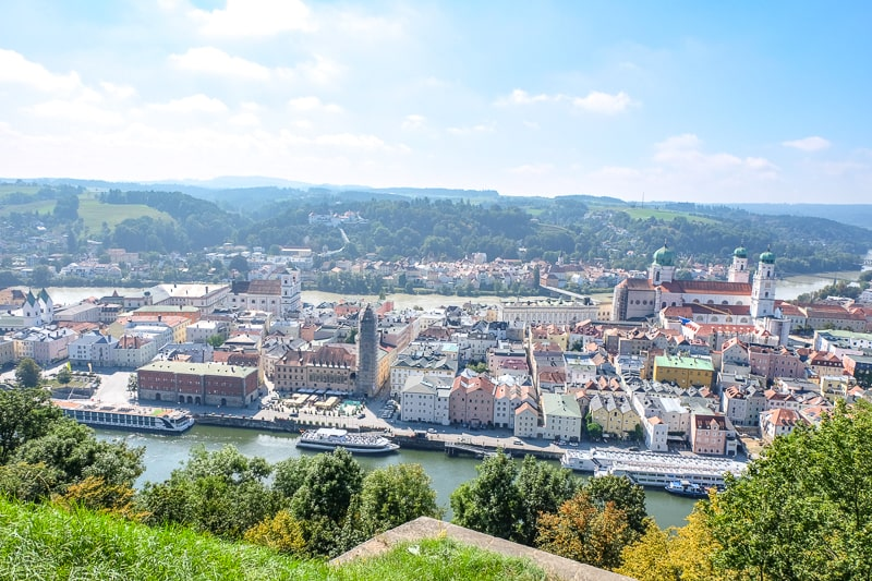 overview of old town passau with rivers from above at castle