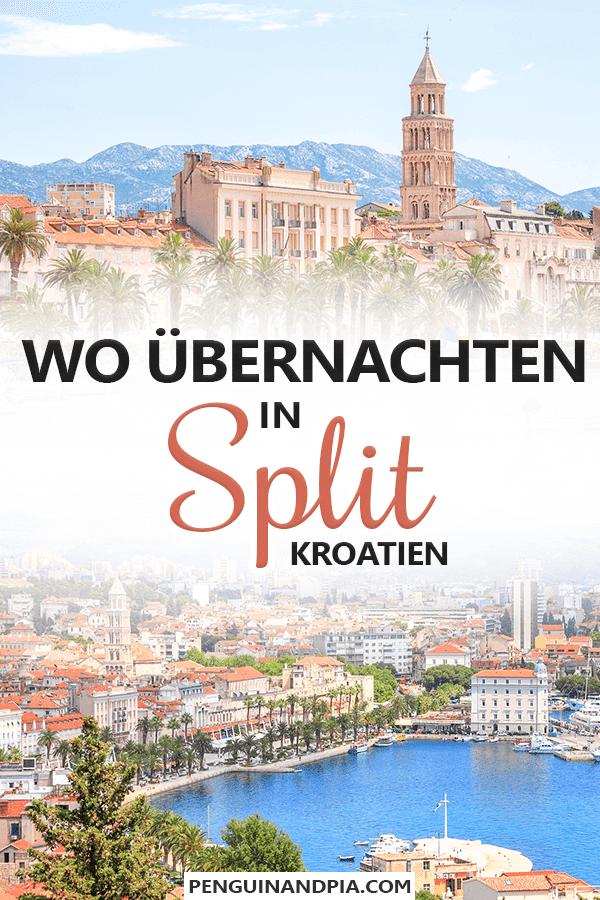 Foto von brauen Gebäuden in Altstadt mit Bergen und blauem Himmel und Foto von Stadt mit Meer im Vordergrund mit Text darüber