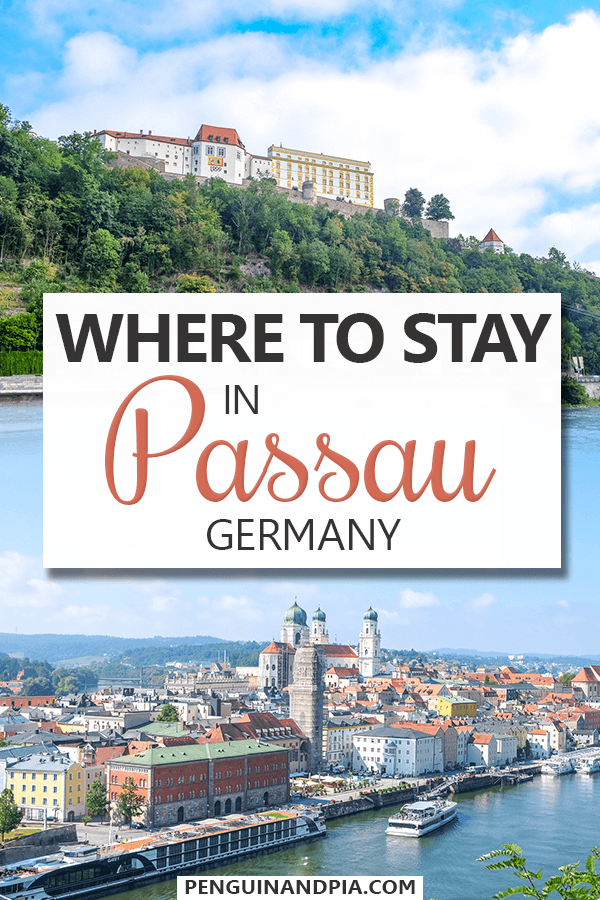 Photos of colourful buildings, water and greenery in Passau with text overlay