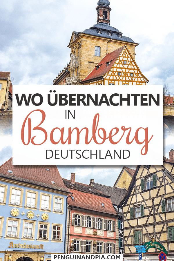 Fotos von bunten Fachwerkhäusern in Altstadt von Bamberg mit Text obendrüber