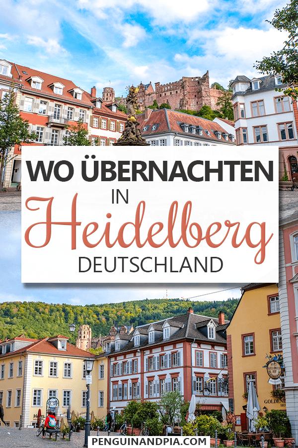Fotos von bunten Gebäuden in Heidelberg Altstadt mit Text darüber