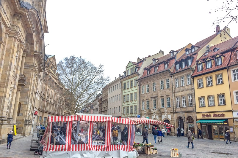 german public square with Grüner Market stall in bamberg