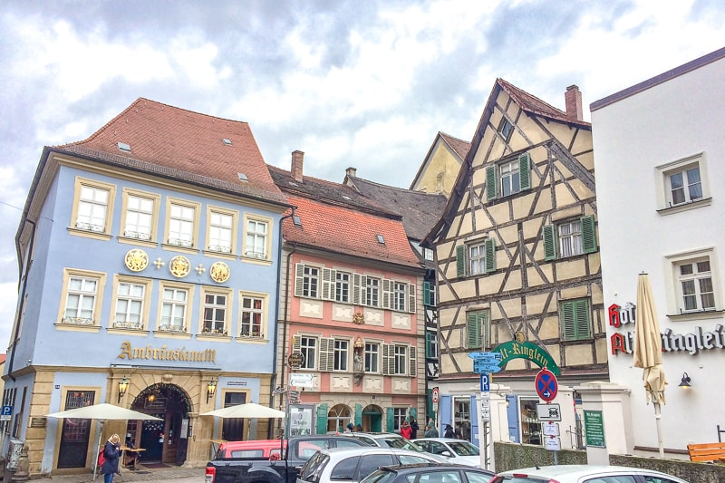 german old town timber hotel buildings in bamberg old town