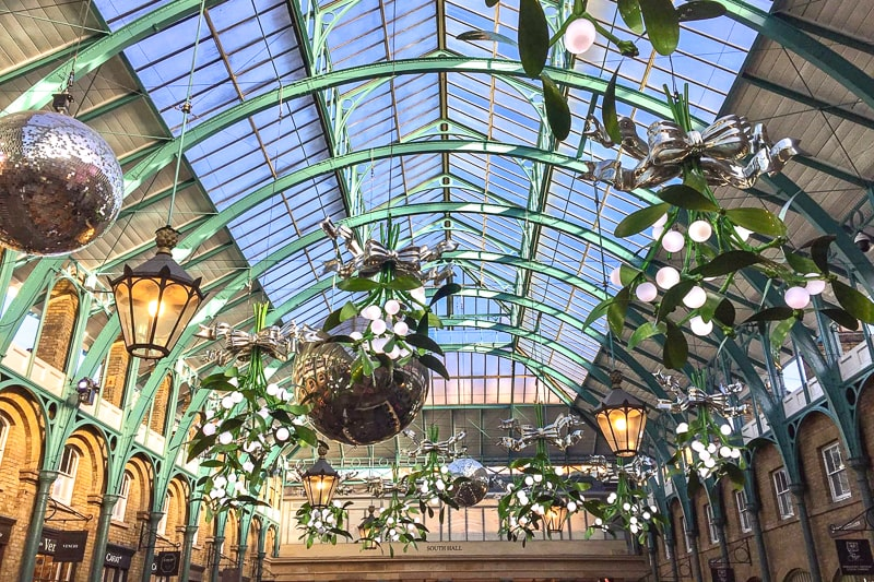 green supports with glass roof in covent garden london